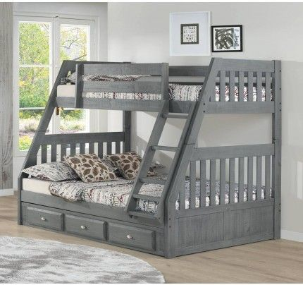 Discovery World Furniture Twin Full Bunk Bed Charcoal Gray