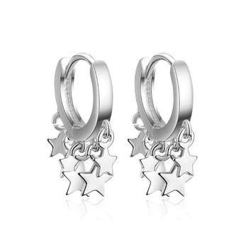 925 Sterling Silver Stud Earrings pendientes 3 Star Tassel Earrings For Women