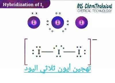 تهجين اليود في أيون ثلاثي اليود I3 Iodine Pincode Tri