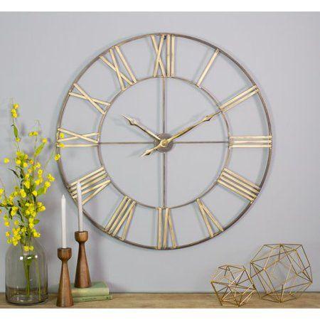 Gracie Oaks Oversized Mosher Round Metal 40 Wall Clock Walmart Com Oversized Wall Clock Metal Wall Clock Clock Wall Decor
