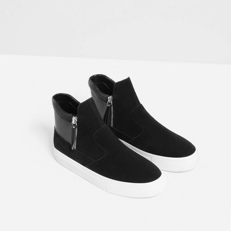 Image 6 of LEATHER HIGH-TOP SNEAKERS WITH ZIP from Zara | Shoes, Shoes Shoes.  I love Shoes! | Pinterest | Leather high tops, High top sneakers and High  tops