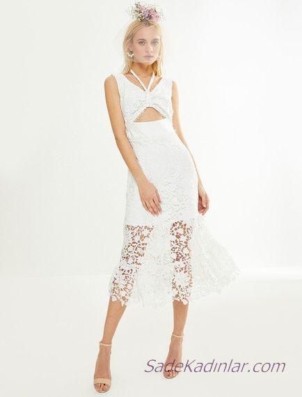Koton Beyaz Elbise Modelleri Midi Kolsuz V Yakali Gobek Dekolteli Dantel Elbise Modelleri The Dress Yazlik Kiyafetler