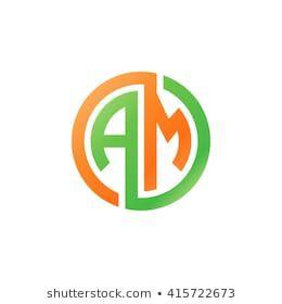 Am Initial Letters Linked Circle Logo Orange Green Circle Logos