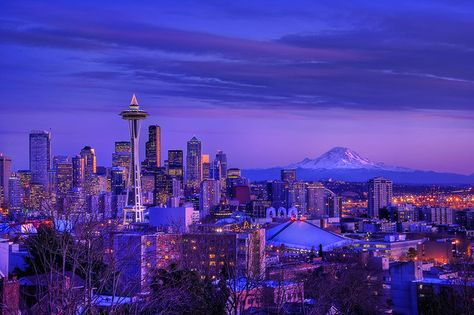 Seattle skyline and Mt. Rainier from Kerry Park. This must be in December because they have the Christmas tree on the Space Needle.