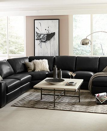 Pin On Modern Black Leather Sectional