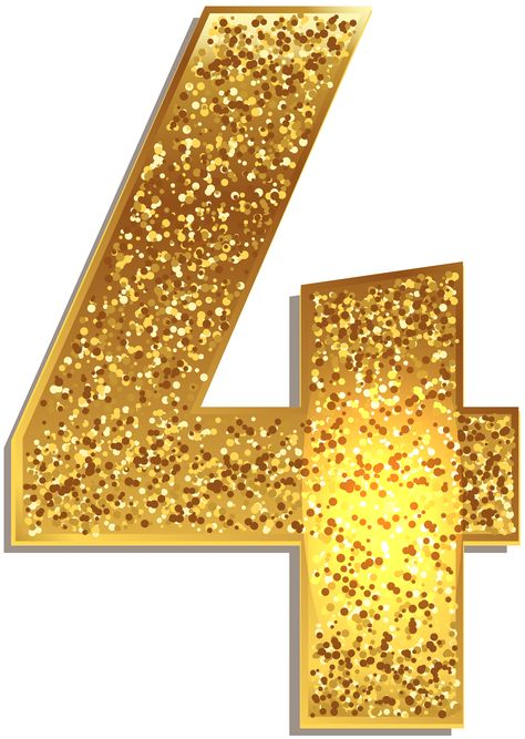 Number Four Gold Shining PNG Clip Art Image | Gallery Yopriceville - High-Quality Images and Transparent PNG Free Clipart