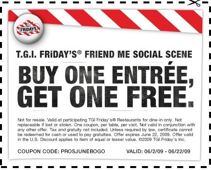 TGI BOGO coupon Bounce back coupons Pinterest Bogo coupons - coupon disclaimer examples