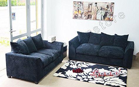 pretty nice a9507 181e4 Dylan Byron Black Fabric Jumbo Cord Sofa Settee Couch 3+2 ...