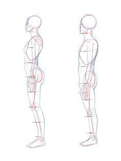 Side View Woman And Male Sketsa Cara Menggambar Gambar Pose Tubuh