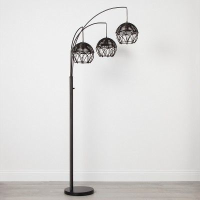 Find Product Information Ratings And Reviews For Rattan 3 Head Arc Floor Lamp Black Opalhouse Online On Target Black Floor Lamp Arc Floor Lamps Black Lamps