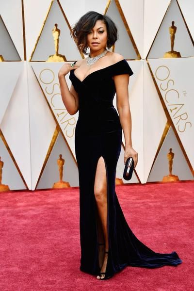 Taraji P. Henson Celebrity Dresses Velvet Off-The-Shoulder Gown