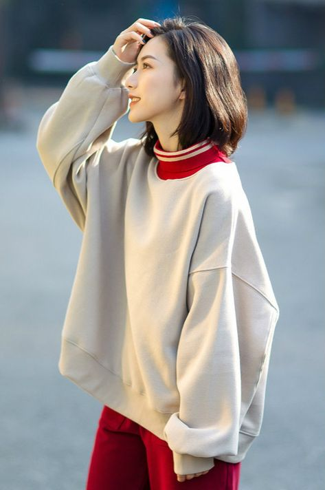 Turtleneck Oversized Sweatshirt Korean Cotton Hoodie for Woman in Yellow Red Black Apricot One Size - sweatshirt