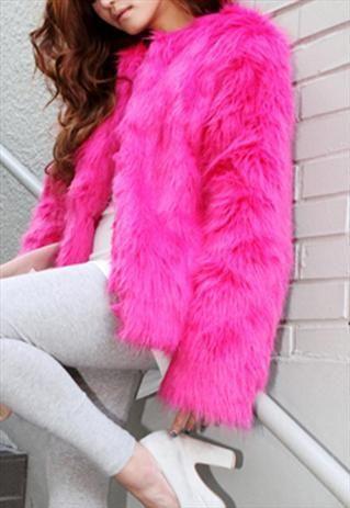 Pink Faux Fur Coat Coats, Hot Pink Faux Fur Coat Long