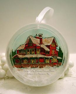 Christmas Lodge ornament using Stampin' Up embellishments container.