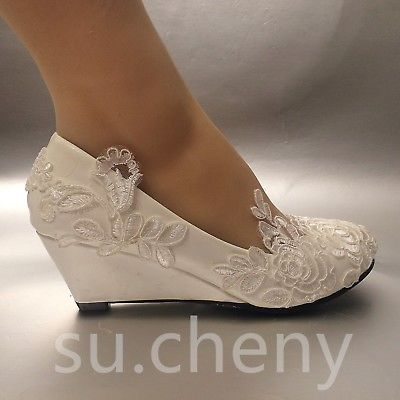 Su Cheny White Light Ivory Lace Wedding Shoes Flat Heel Wedges Bridal Size 5 13 Wedding Shoes Lace Wedge Wedding Shoes Wedding Shoes Comfortable