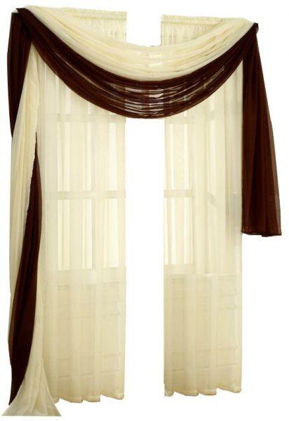 ستارة وشاح طويل شيفون مقاس 150 250 سم أبيض سمنى وبنى موديل Ac 6003 Curtains Scarf Curtains Home Furniture