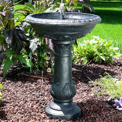 Sunnydaze Oasis Solar With Battery Backup Outdoor Bird Bath Water
