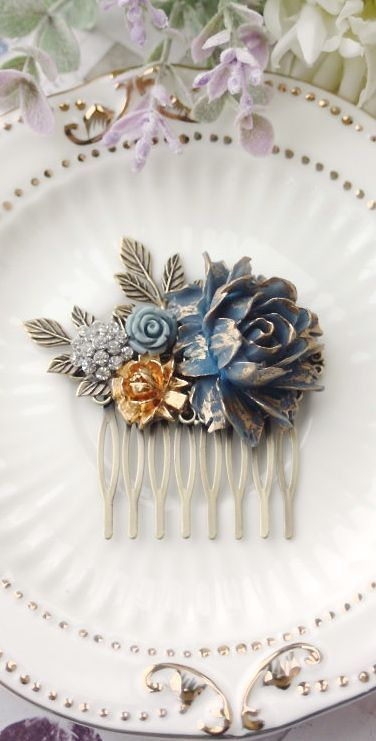 Dark Blue Navy Blue Flower Hair Comb Gold Dusky Blue Pink Rose Gold Leaf Hair Comb Navy Blue Pink Wedding Something Blue Wedding Bridal Comb