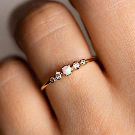 Moonstone engagement ring yellow gold Diamond cluster ring vintage Unique wedding women Bridal set Jewelry Promise Mothers day gift for her Description: - Vintage style Opal and diamond ring - Natural Conflict free diamonds. Cute Promise Rings, Cute Rings, Unique Rings, Opal Promise Ring, Pretty Rings, Dainty Engagement Rings, Morganite Engagement, Dainty Ring, Opal Ring Engagement