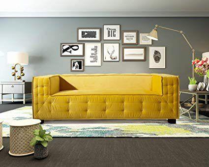 Velvet Living Room Furniture Fresh Amazon Iconic Home Fsa9353 An Bryant Sofa Velvet Upho Desain Interior Ruang Tamu Desain Ruang Tamu Mewah Ide Sofa Ruang Tamu
