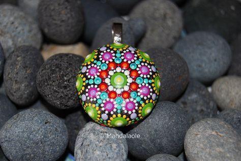 Image of Colorful Mandala Pendant Stone 22
