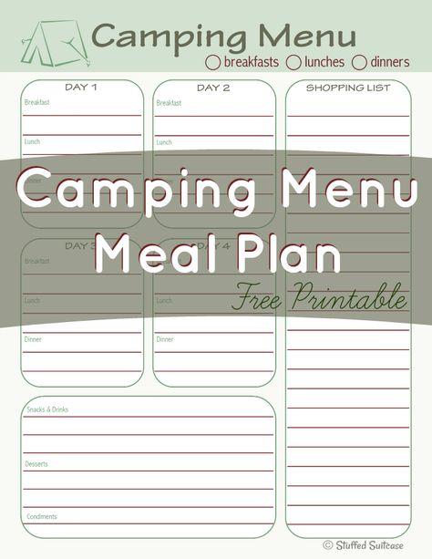 Camping Menu Meal Planning Printable