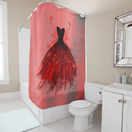 Radiant Sheen Decor Red Iridescent Fairy Gown Shower Curtain