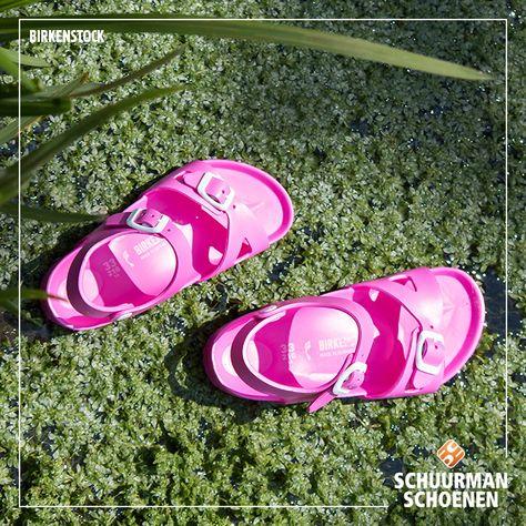Birkenstock sandals made of rubber; your girl can withstand water and land in them! | Rio Eva Birkenstock roze sandalen voor meiden
