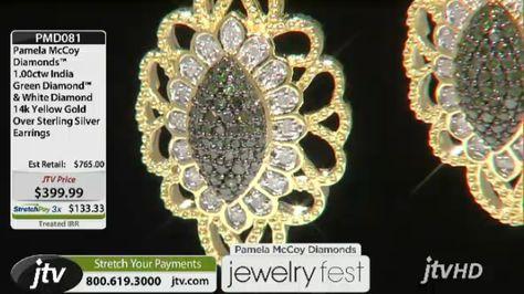 Nautre's Neutral--India Green Diamond Earrings!  Pamela Mccoy Diamonds(Tm)1.00ctw White & India Green Diamond(Tm) 14k Yg Ovr Sterling Silver Earrings ERV: $765.00 JTV Price: $399.99