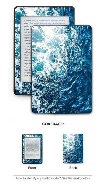 Gozo Wave Kindle Skin in a deep blue color  Crazy durable, aesthetic