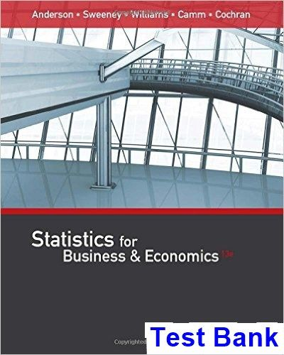 Statistics For Business And Economics 13th Edition Anderson