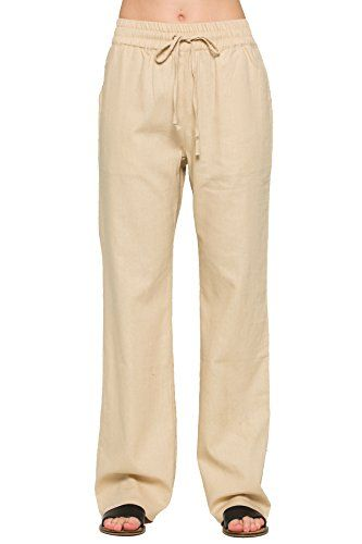 a715f15ed786 Residents On Women's Comfy Drawstring Linen Pants Long with Band ...