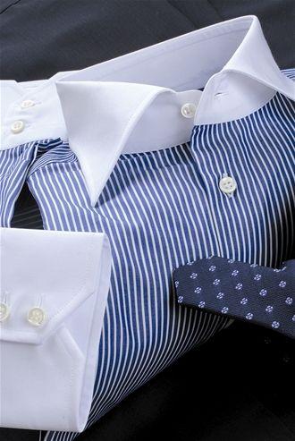 codici promozionali ultimo design migliore vendita Camicia Su Misura tessuto popeline Monti riga bianco blu collo ...