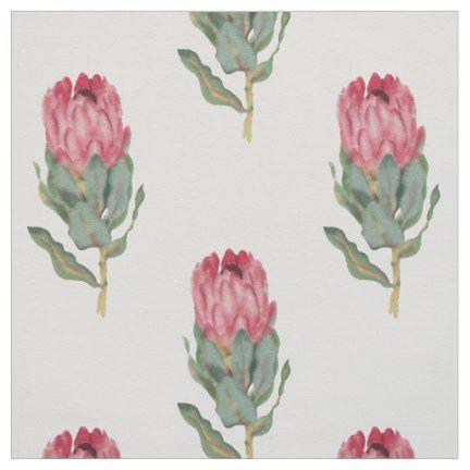 Protea Watercolour Floral Pattern Fabric Watercolor Floral Pattern Floral Watercolor Fabric Patterns