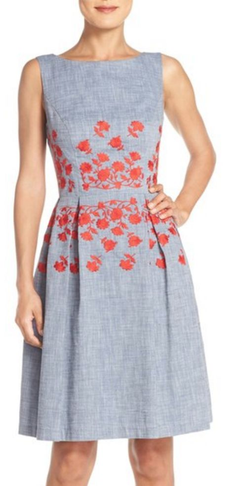 Embroidered Chambray Fit & Flare Summer Dress