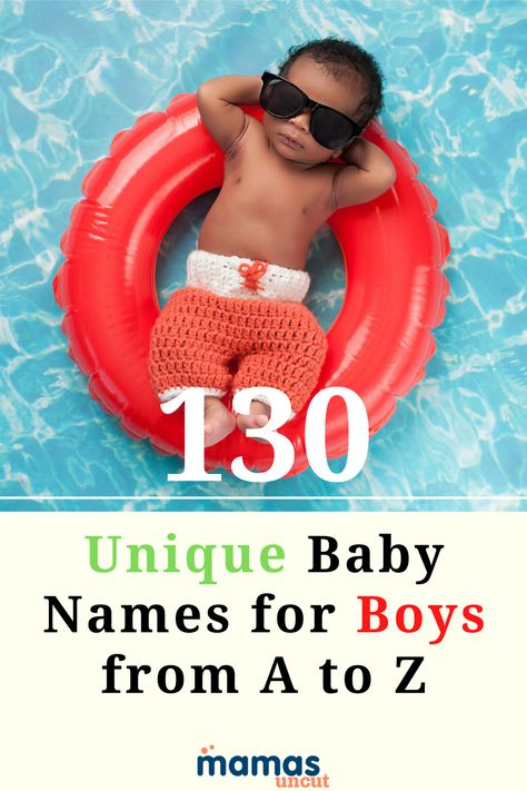 130 Unique Baby Names for Boys from A to Z  A roundup of 130 baby names for boys! Five unique names for each letter of the alphabet that dazzle and delight.  #babynames #nameideas #uniquenames