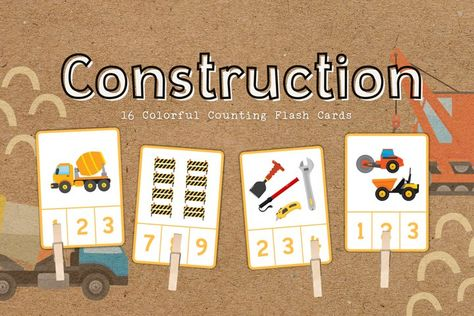 Construction Educational Counting Flashcards
