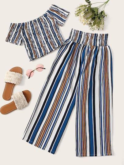 Women Ladies Summer Pleated Striped Cami Top Trousers Co-ords Suit 2 Pieces Set