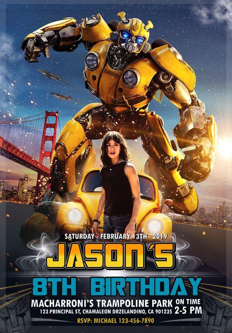 Bumblebee Transformer Movie Birthday Invitation - oscarsitosroom