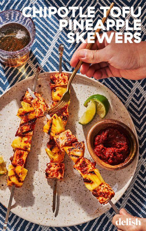 Al pastor-inspired Chipotle Tofu  Pineapple Skewers bring the sunshine.