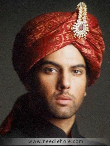 Classic Wedding Turban, Silk Jamawar Fabric, Pre-Tied, Fire Brick