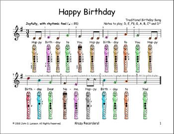 Happy Birthday Free Easy Beginner Recorder Sheet Music