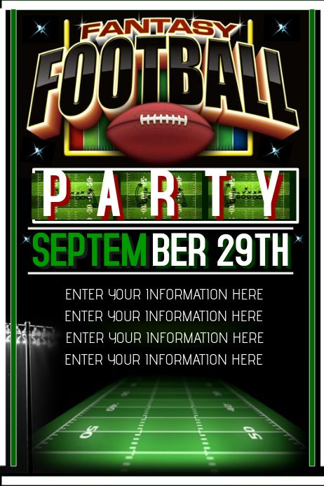 Fantasy Football Football Poster Social Media Graphics Poster Template