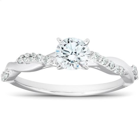 Shop Diamond Infinity Engagement Ring Womens White Gold Interwoven Band - On Sale - Overstock - 29058767 Celtic Engagement Rings, Dream Engagement Rings, Princess Cut Engagement Rings, Thing 1, Celtic Rings, Bracelets For Men, Ring Designs, White Gold, Target