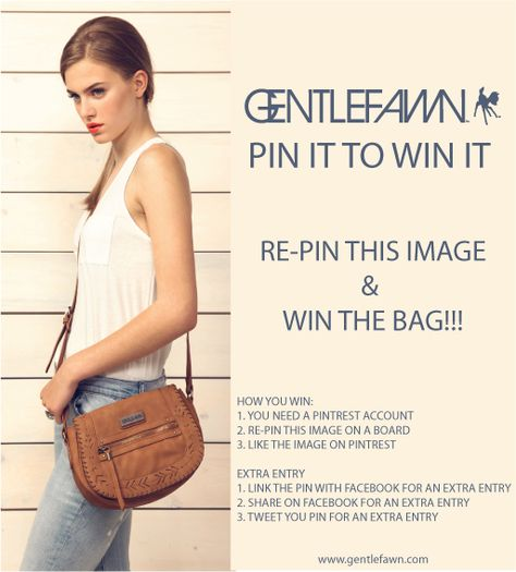 Gentle Fawn Pintrest Promotion!  RE-pin this image to win the bag!  Check out the image for more ways to win.