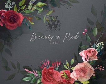 Red Peonies Wedding Clipart Watercolor Floral Bouquet Clip Art