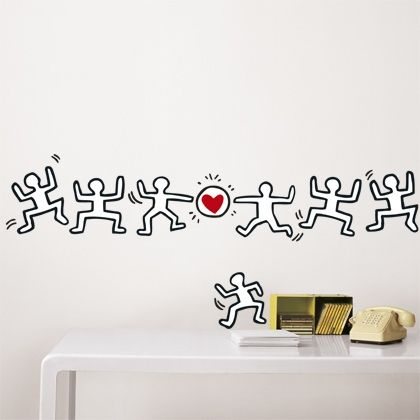 Untitled (Stacked Figures With Heart), Keith Haring, Homestickers Collector  | Keith Haring | Pinterest | Keith Haring Part 10