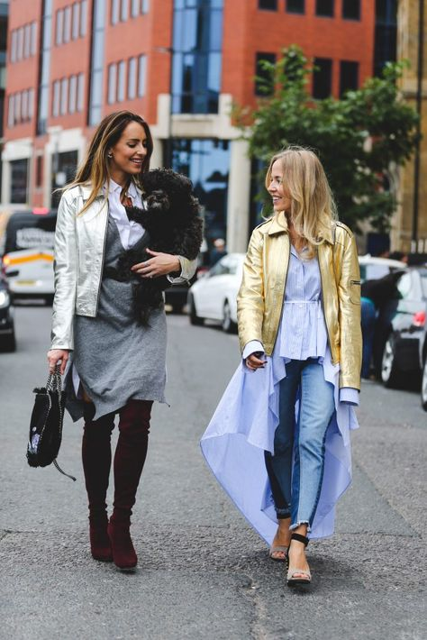Conquering London Fashion Week with my Girl Gang and eye-catching leather jackets from Sarah Baily.