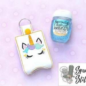 Sleepy Unicorn Face Hand Sanitizer Holder Key Fob In The Hoop