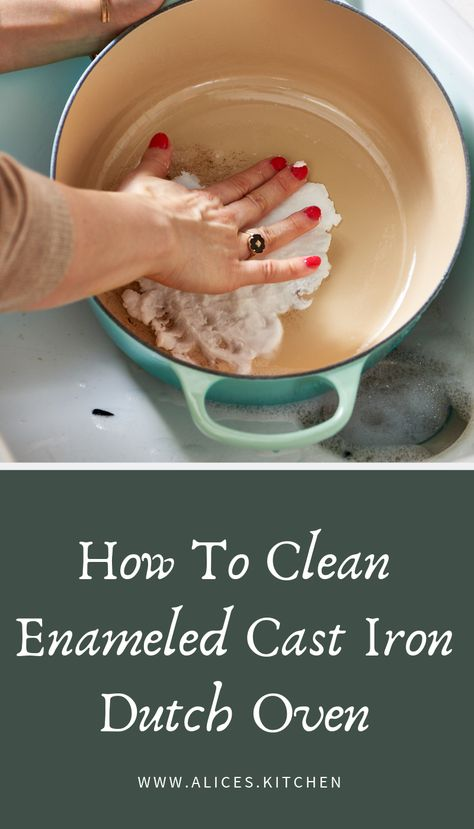 How To Clean Enameled Cast Iron Dutch Oven - Cleaning Hacks Household Cleaning Tips, Oven Cleaning, Cleaning Recipes, House Cleaning Tips, Cleaning Hacks, Kitchen Cleaning, Kitchen Hacks, Organizing Tips, Cleaning Supplies